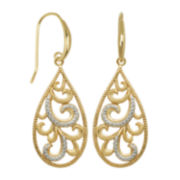 Classic Treasures™ 18K Gold Over Brass Filigree Teardrop Earrings