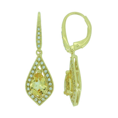 jcpenney.com | Heat-Treated Citrine & Lab-Created White Sapphire Drop Earrings