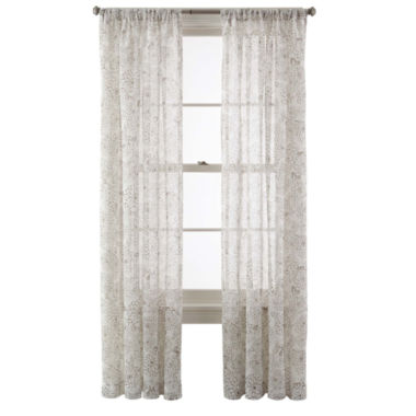 jcpenney.com | MarthaWindow™ Mum Blossoms Rod-Pocket Sheer Panel