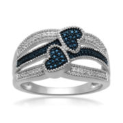 1/10 CT. T.W. White and Color-Enhanced Blue Diamond Double-Heart Ring