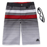 ZeroXposur® Striped Swim Shorts and Goggles – Boys 8-20