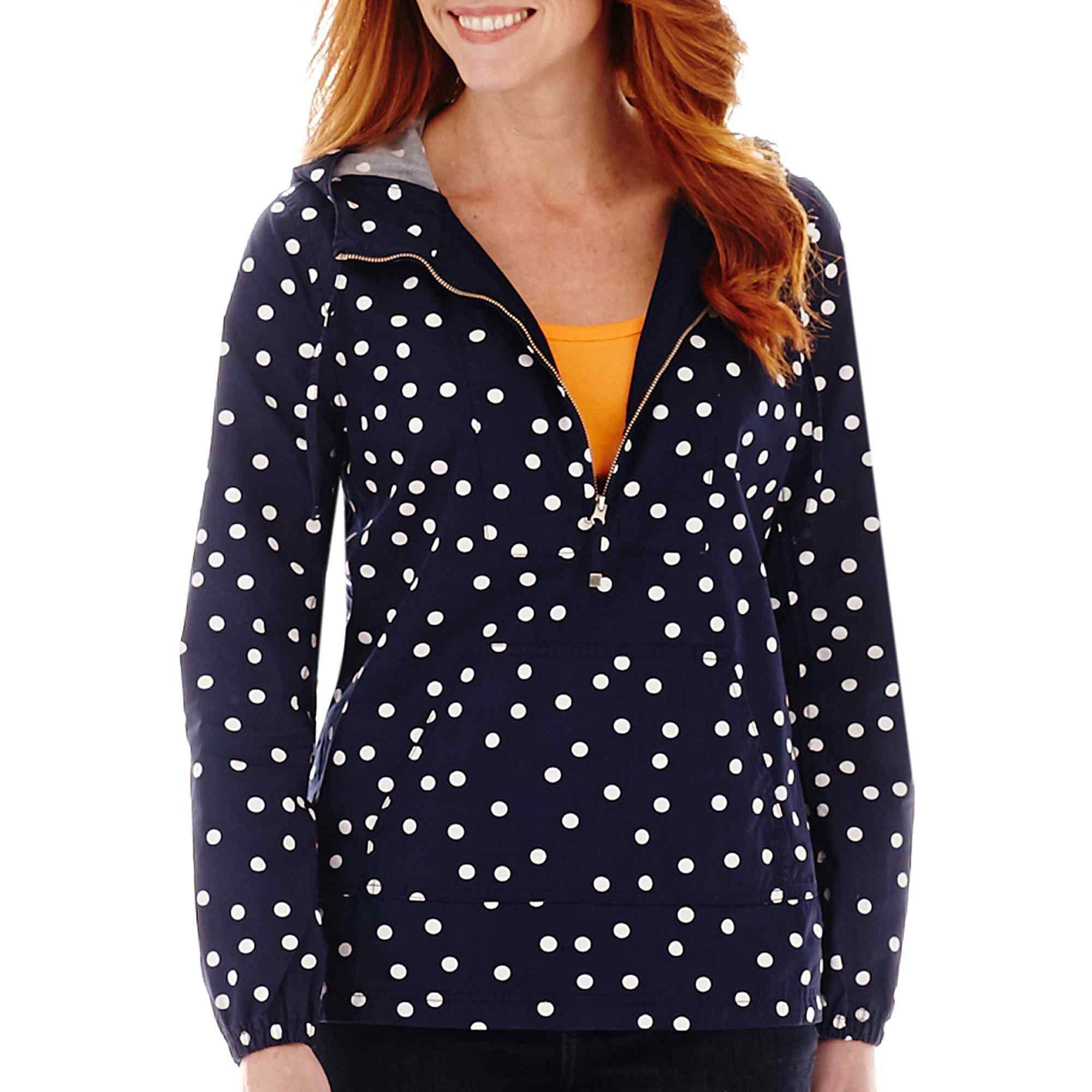 St. John's Bay Polka Dot Popover Anorak Jacket- Petite plus size,  plus size fashion plus size appare