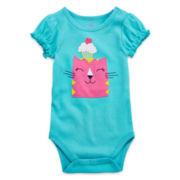 Okie Dokie® Short-Sleeve Knit Bodysuit - Girls newborn-9m