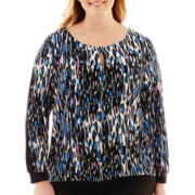 Worthington® Long-Sleeve Keyhole Top - Plus