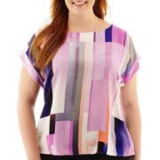 Worthington® Short-Sleeve Boxy Blouse - Plus