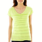 Liz Claiborne® Short-Sleeve Tiered Tee - Petite