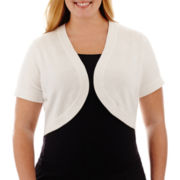 R&K Originals® Short-Sleeve Bolero Shrug Sweater - Plus