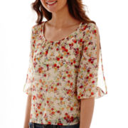 Arizona 3/4-Sleeve Chiffon Peasant Top