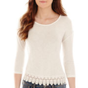 Arizona Dolman-Sleeve Lace-Trim Hatchi Top