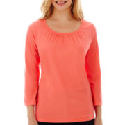 St. John's Bay® 3/4-Sleeve Gathered-Neck Tee - Petite