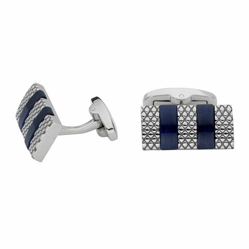 Grid Pattern Blue Striped Cuff Links