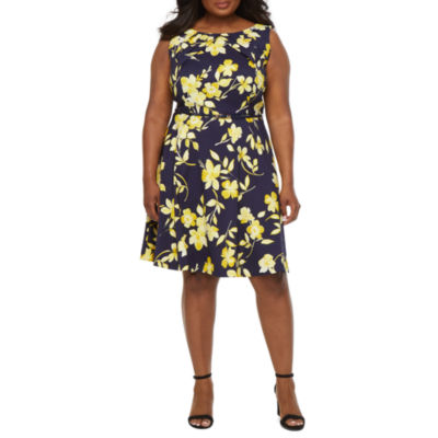 Alyx Plus Sleeveless Floral Fit Amp Flare Dress Color Navy
