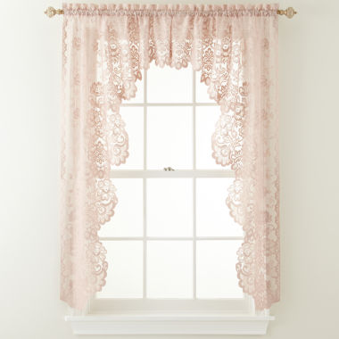 jcpenney.com | JCPenney Home™ Shari 2-Pack Lace Rod-Pocket Cascade Valance