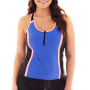 Zero Xposur® Colorblock Racerback Tankini Swim Top - Plus