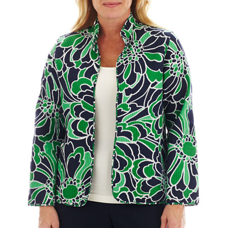 Alfred Dunner Greenwich Circle Graphic Floral Print Quilt Jacket - Plus
