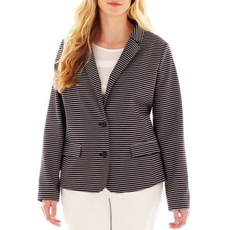Liz Claiborne Striped Ponte Knit Blazer - Plus