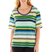 Liz Claiborne Elbow-Sleeve Striped Tee - Plus