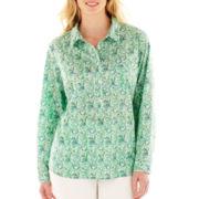Liz Claiborne Long-Sleeve Popover Blouse - Plus
