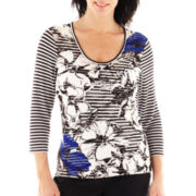 Lark Lane® Geometric Chic Striped Textured Knit Top