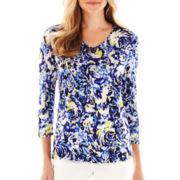 Liz Claiborne 3/4-Sleeve Floral V-Neck Tee