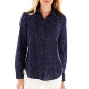 Liz Claiborne Long-Sleeve Button-Front Shirt - Petite