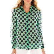 Liz Claiborne Long-Sleeve Button-Front Dot Blouse
