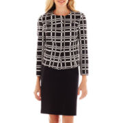 Liz Claiborne Cropped Jacquard Jacket with Jeweled Neckline