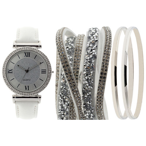Mixit Womens White 5-pc. Watch Boxed Set-Jcp2980sts