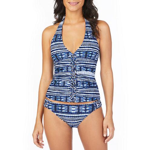 Ambrielle Tie Dye Tankini w/Macrame Center Swimsuit Top
