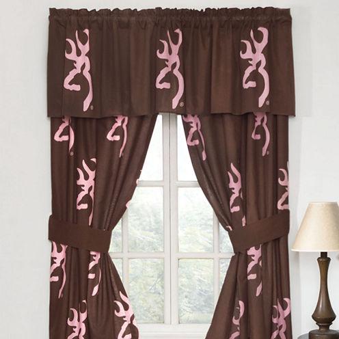Browning Buckmark Pink Rod Pocket Lined Curtains W/Tiebacks
