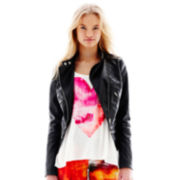 L'Amour Nanette Lepore Zip-Front Faux Leather Moto Jacket