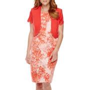 Maya Brooke Floral Print Bolero Jacket Dress