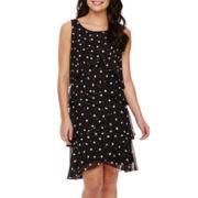SL Fashions Sleeveless Dot Print Tiered Shift Dress