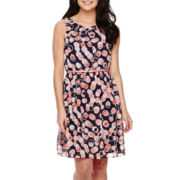 R&K Originals® Sleeveless Dot Print Fit-and-Flare Dress