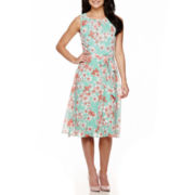 R&K Originals® Sleeveless Floral Print Fit-and-Flare Dress