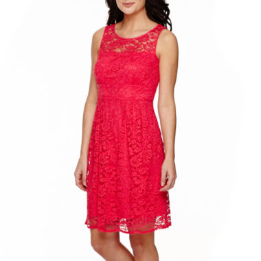 jcpenney.com | Donna Ricco Sleeveless Illusion Fit-and-Flare Dress