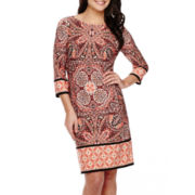 London Style Collection 3/4-Sleeve Medallion Print Shift Dress
