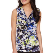 Black Label by Evan-Picone Sleeveless Print Cowl-Neck Top