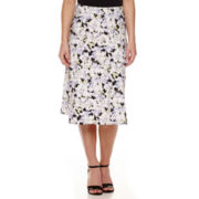 Black Label by Evan-Picone Print Midi Skirt