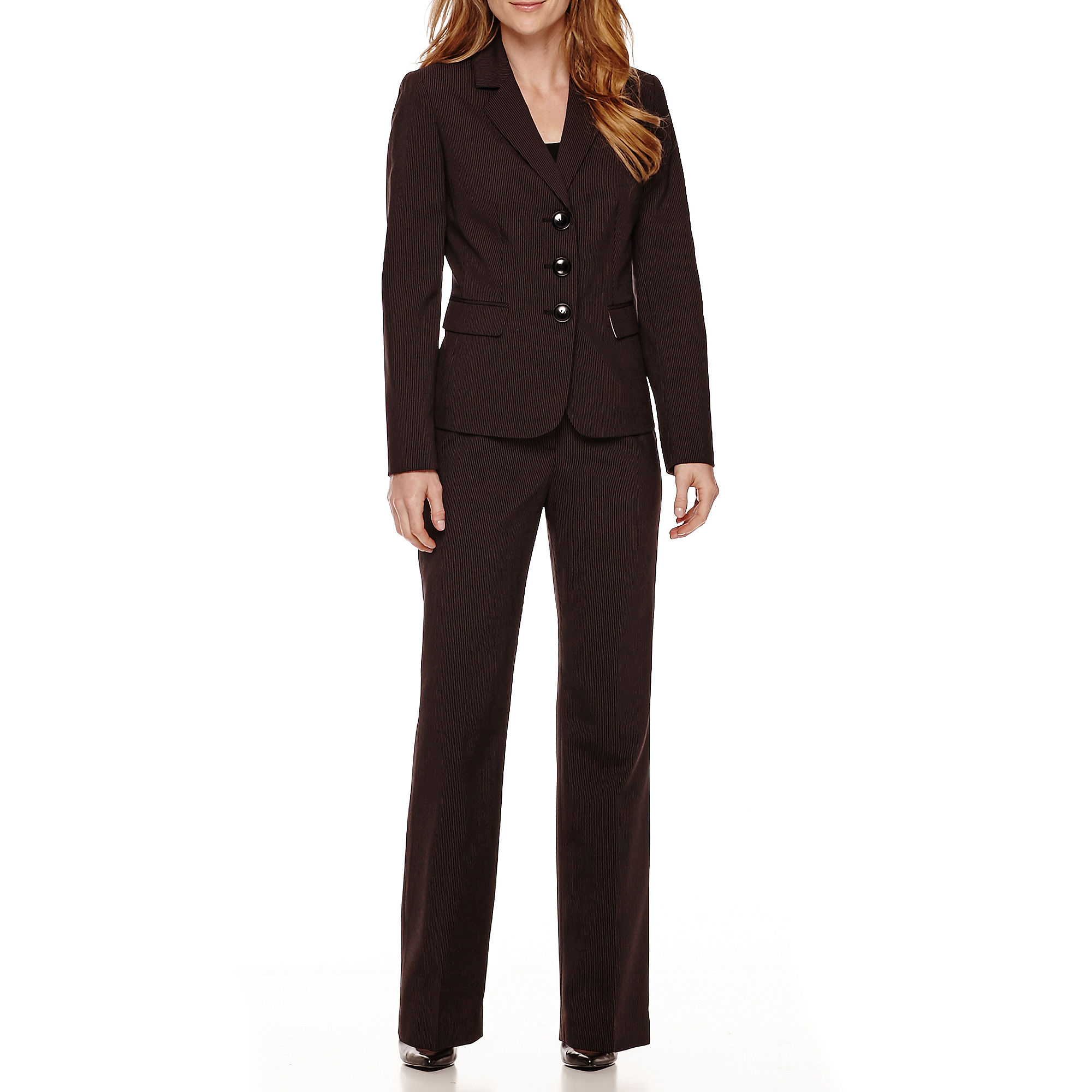Le Suit Long-Sleeve Pinstripe Jacket and Pant Suit Set plus size,  plus size fashion plus size appare