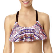 Arizona Festival Paisley Macramé Flounce Swim Top - Juniors