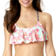 Arizona Palm Springs Crochet Flounce Swim Top - Juniors