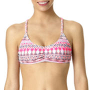 Arizona Tribal Triangle Braided-Strap Bralette Swim Top - Juniors