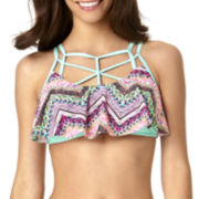 Arizona Chevy Cage-Neck Flounce Swim Top - Juniors