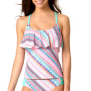 Arizona Bliss Flounce Tankini Swim Top - Juniors