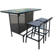 Outdoor Oasis™ Glass-Top Bar and Sling Stool Set