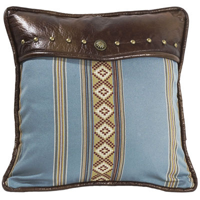 HiEnd Accents Ruidoso Square Blue-Striped Decorative Pillow