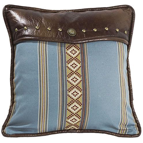 HiEnd Accents Ruidoso Square Blue-Striped Decorative Pillow