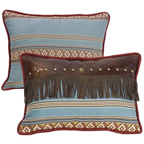 HiEnd Accents Ruidoso Fringe Oblong Striped Decorative Pillow