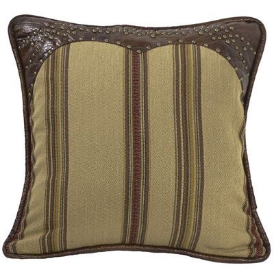 HiEnd Accents Ruidoso Faux-Leather Trimmed Square Striped Decorative Pillow